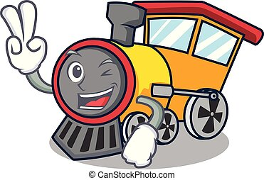 Two finger train character cartoon style