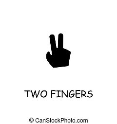 Two fingers flat vector icon