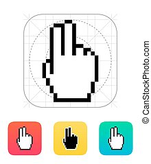 Two fingers. Pixel hand cursor icon.