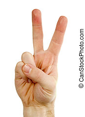 Two Fingers - A male hand with two fingers up in the peace...