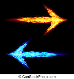 Two fire arrows - Blue and orange fire arrows pointing in...