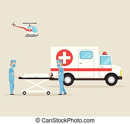 Two first aid doctors carry the victim patient on stretchers after accident disaster. Ambulance emergency medicine hospital car and helicopter. Healthcare concept. Vector flat cartoon isolated illustration