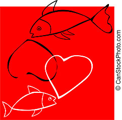 Two fish mingle hearts on a red background, valentine image
