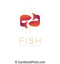 Two Fish or Pisces symbol icon and coral set orange violet gradient color design illustration isolated on white background with Fish text and copy space, vector eps10