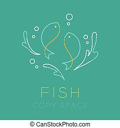 Two Fish or Pisces, Water splash and Air bubble logo icon outline stroke set dash line design illustration isolated on green turquoise background with Fish text and copy space