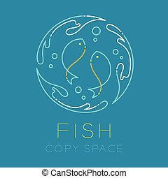 Two Fish or Pisces, Water splash circle and Air bubble logo icon outline stroke set dash line design illustration isolated on blue background with Fish text and copy space