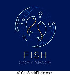 Two Fish or Pisces, Water splash,  Coral, Seaweed and Air bubble logo icon outline stroke set dash line design illustration isolated on dark blue background with Fish text and copy space