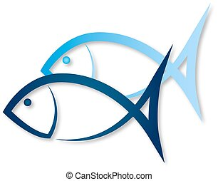 Two fish symbol - Two blue fish for vector