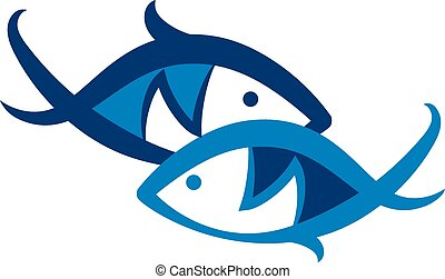 Two blue fish symbol to vector