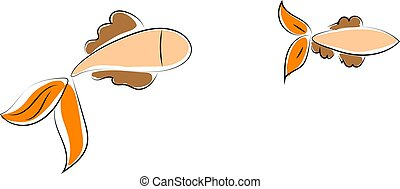 Two fishes, illustration, vector on white background.