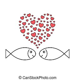 Two fishes in love. Hearts-bubbles.