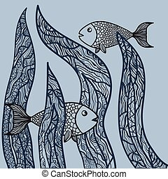 Two fishes in sea weed. Adult antistress coloring page. Hand drawn doodle oceanic animal. Sketch for poster, print, t-shirt in zentangle. Vector illustration