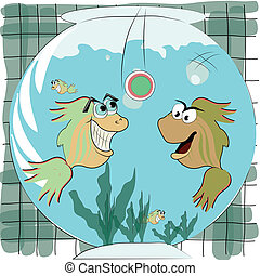 two fishes playing