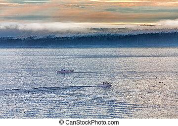 Two Fishing Boats in Misty Dawn