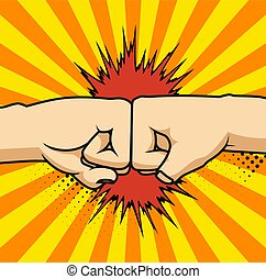 Two fists bumping together vector illustration, two hands ...