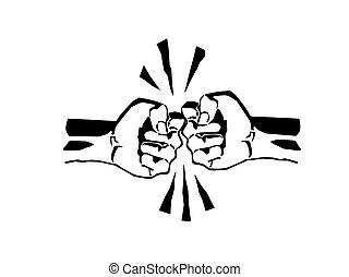 Two fists fight vector illustration