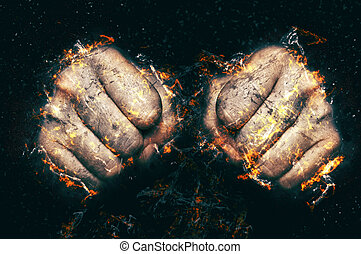 Two fists in flame, fire illustration.