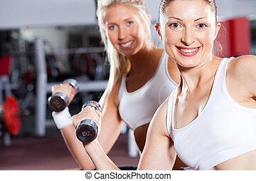 fitness women doing dumbbell exercise