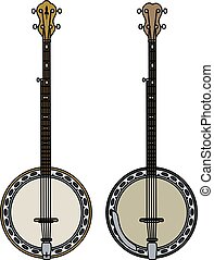 Two five string banjo - Hand drawing of two classic five...