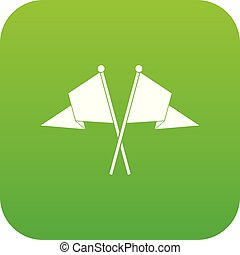 Two flags icon digital green