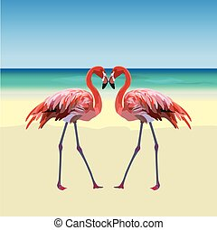 Two flamingo birds forming a shape of a heart. Tropic Exotic...