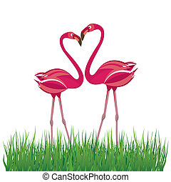 Two pink flamingo in love. Vector illustration