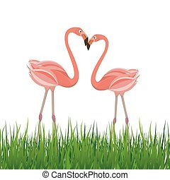Two flamingo in love. Vector illustration - Two pink ...