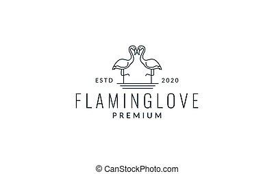 two flamingo line modern logo vector illustration design