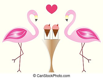 two flamingos in love eating ice cream vector