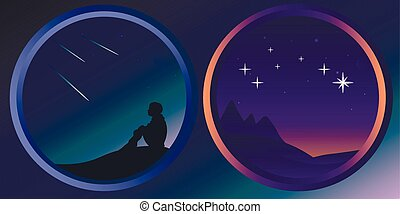 Two flat night landscapes with stars and the moon - Flat...
