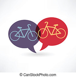 two flat speech bubble icon with bicycles