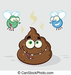 Two Flies Hovering Over Pile Poop