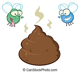 Two Flies Hovering Over Smelly Poop