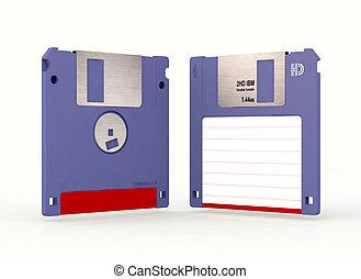 two floppy disk 3d illustration