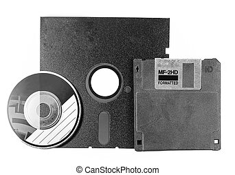 Two floppy disks and CD-ROM