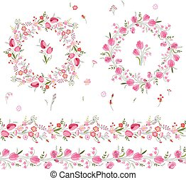 Two floral round garlands and endless pattern brushes made...