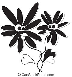 Two flowers, vector.
