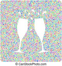 Two flutes and a cheers! - Decorative mosaic of two flutes...