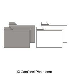 Two folder grey set icon .