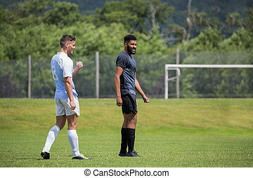 Two football players standing in the ground