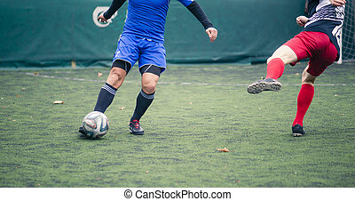 Two footballers chasing ball on grass-field during game