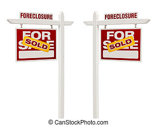 Two Foreclosure Sold For Sale Real Estate Signs, Clipping...