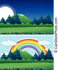 Two forest scenes night and day