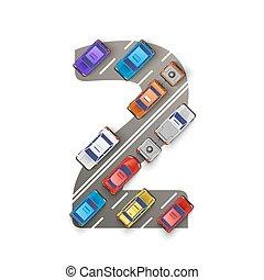two., forma, carros, número, ilustração, vetorial, estrada