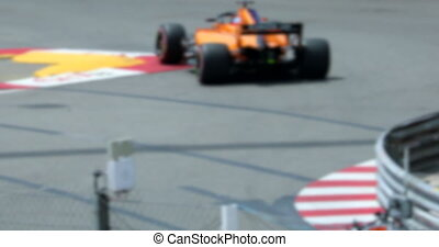 Two Formula One Driving Fast On Speed Track In Slow Motion