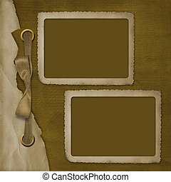 Two frame for photo, on the abstract background with ribbon and bow