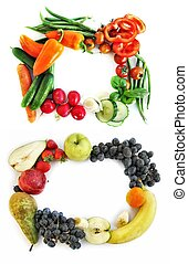 two frames form vegetables and fruits
