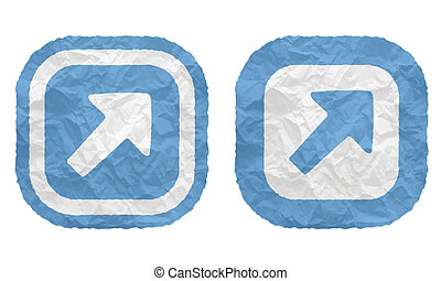 two frames with texture crumpled paper and arrow