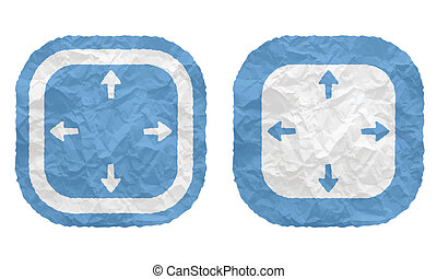 two frames with texture crumpled paper and arrows