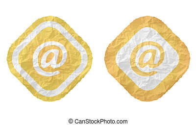 two frames with texture crumpled paper and email symbol